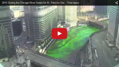 Chicago River teint en vert pour la Saint-Patrick