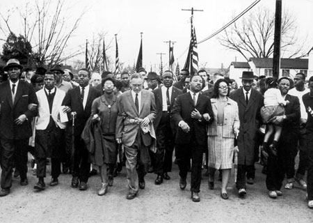Marche de Selma pour les droits civiques avec Martin Luther King