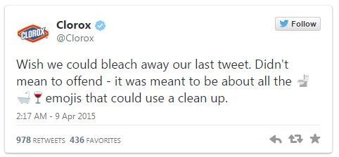 Tweet d'excuse de Clorox