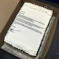 Le gâteau lettre de démission de Mark Herman